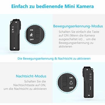 NIYPS wasserdichte Mini Kamera, Full HD 1080P Super Mini Cam, Tragbare Kleine Überwachungskamera mit Aufzeichnung, Kabellose Nanny Cam mit Bewegungserkennung und Infrarot Nachtsicht für Innen/Aussen - 4