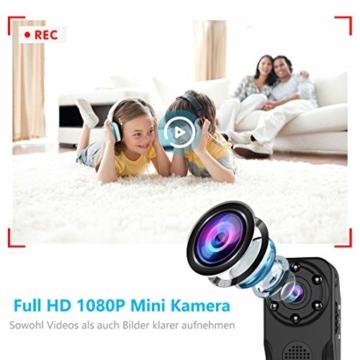 NIYPS wasserdichte Mini Kamera, Full HD 1080P Super Mini Cam, Tragbare Kleine Überwachungskamera mit Aufzeichnung, Kabellose Nanny Cam mit Bewegungserkennung und Infrarot Nachtsicht für Innen/Aussen - 6