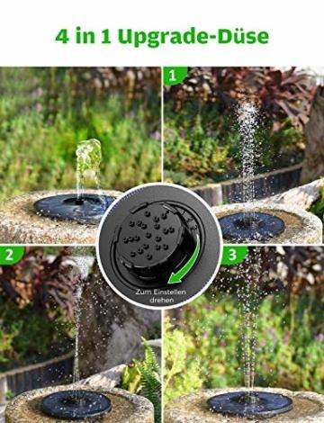 OMORC Solar Springbrunnen, Solarbrunnen 2W mit 4-in-1-Düse, Solar Teichpumpe Wasserpumpe Solarpumpe Solarbrunnen für den Garten, Kleiner Teich, Aquarium (2020 Upgrade) - 2