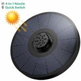 OMORC Solar Springbrunnen, Solarbrunnen 2W mit 4-in-1-Düse, Solar Teichpumpe Wasserpumpe Solarpumpe Solarbrunnen für den Garten, Kleiner Teich, Aquarium (2020 Upgrade) - 1