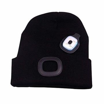 OMOUP 4 LED Stirnlampe Beanie Mütze, Winter warme Beanie Hut Hände frei beleuchtete Beanie Mütze mit (Schwarz) - 4