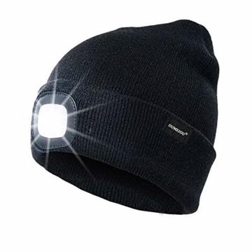 OMOUP 4 LED Stirnlampe Beanie Mütze, Winter warme Beanie Hut Hände frei beleuchtete Beanie Mütze mit (Schwarz) - 1