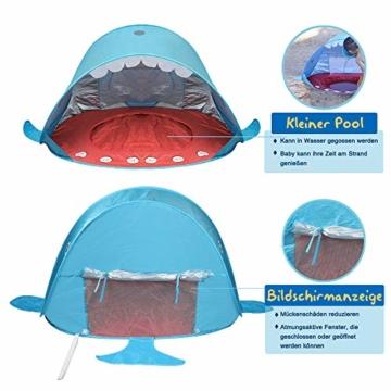 Opret Pop-up Strandzelt, Faltbares Kinder campingzelt mit Pool, Wasserdichtes und UV-Beständiges Tragbares Zelt, Geeignet für Babys, die im Strandgarten Spielen- Blau - 4