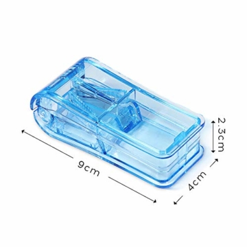 Opret Tablettenteiler für Große und Kleine Tabletten, Tablettenschneider mit Aufbewahrungsfach Blau - 2