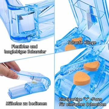 Opret Tablettenteiler für Große und Kleine Tabletten, Tablettenschneider mit Aufbewahrungsfach Blau - 3