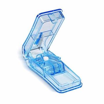 Opret Tablettenteiler für Große und Kleine Tabletten, Tablettenschneider mit Aufbewahrungsfach Blau - 1