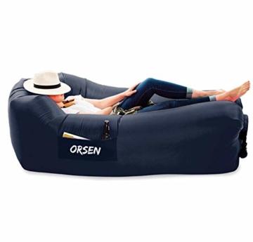 ORSEN Luft Sofa Couch, wasserdichtes aufblasbares Sofa, air Lounger, aufblasbare Liege, Luftsack mit Tragebeutel und integriertem Kissen für Indoor oder Outdoor, Reisen, Camping, Party, Meer, Strand - 1