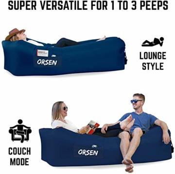 ORSEN Luft Sofa Couch, wasserdichtes aufblasbares Sofa, air Lounger, aufblasbare Liege, Luftsack mit Tragebeutel und integriertem Kissen für Indoor oder Outdoor, Reisen, Camping, Party, Meer, Strand - 6