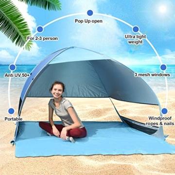 Osaloe Strandmuschel, UV Schutz 50+ Pop Up Strandzelt für 1-3 Personen, Tragbares Campingzelt zum Wandern, Picknicken, Angeln, Garten- und Outdoor-Aktivitäten (Blau) - 2