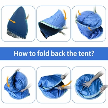 Osaloe Strandmuschel, UV Schutz 50+ Pop Up Strandzelt für 1-3 Personen, Tragbares Campingzelt zum Wandern, Picknicken, Angeln, Garten- und Outdoor-Aktivitäten (Blau) - 3