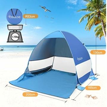 Osaloe Strandmuschel, UV Schutz 50+ Pop Up Strandzelt für 1-3 Personen, Tragbares Campingzelt zum Wandern, Picknicken, Angeln, Garten- und Outdoor-Aktivitäten (Blau) - 4