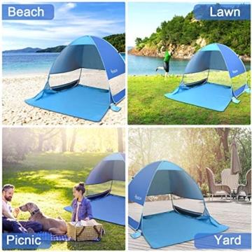 Osaloe Strandmuschel, UV Schutz 50+ Pop Up Strandzelt für 1-3 Personen, Tragbares Campingzelt zum Wandern, Picknicken, Angeln, Garten- und Outdoor-Aktivitäten (Blau) - 5