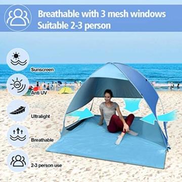 Osaloe Strandmuschel, UV Schutz 50+ Pop Up Strandzelt für 1-3 Personen, Tragbares Campingzelt zum Wandern, Picknicken, Angeln, Garten- und Outdoor-Aktivitäten (Blau) - 6