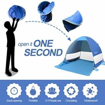 Osaloe Strandmuschel, UV Schutz 50+ Pop Up Strandzelt für 1-3 Personen, Tragbares Campingzelt zum Wandern, Picknicken, Angeln, Garten- und Outdoor-Aktivitäten (Blau) - 7