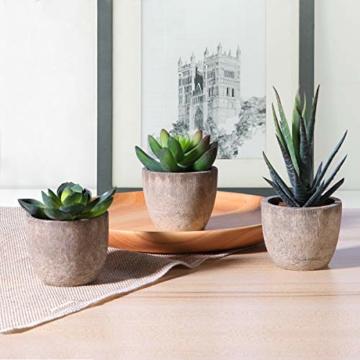 OUNONA 3 Stücke Künstliche Sukkulenten Pflanzen mit Töpfen Tischdeko Haus Balkon Büro Deko - 5