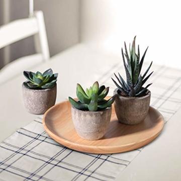 OUNONA 3 Stücke Künstliche Sukkulenten Pflanzen mit Töpfen Tischdeko Haus Balkon Büro Deko - 6