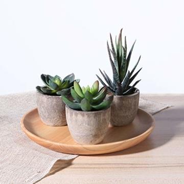 OUNONA 3 Stücke Künstliche Sukkulenten Pflanzen mit Töpfen Tischdeko Haus Balkon Büro Deko - 7