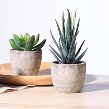 OUNONA 3 Stücke Künstliche Sukkulenten Pflanzen mit Töpfen Tischdeko Haus Balkon Büro Deko - 8