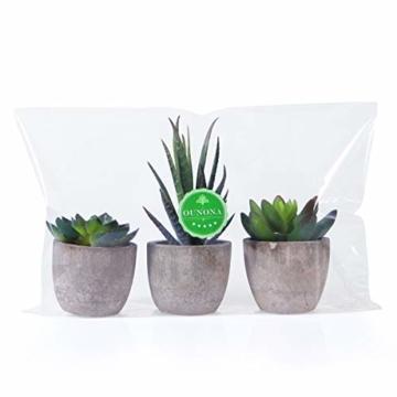 OUNONA 3 Stücke Künstliche Sukkulenten Pflanzen mit Töpfen Tischdeko Haus Balkon Büro Deko - 9