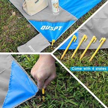 OUSPT Picknickdecke 210 x 200 cm, Stranddecke wasserdichte, Sandabweisende Campingdecke 4 Befestigung Ecken, Ultraleicht kompakt Wasserdicht und sandabweisend(Blau+Grau) - 4