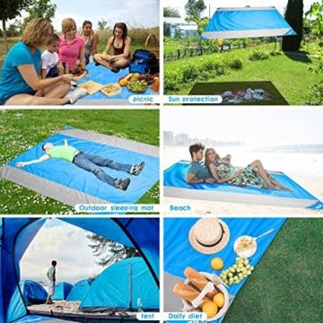OUSPT Picknickdecke 210 x 200 cm, Stranddecke wasserdichte, Sandabweisende Campingdecke 4 Befestigung Ecken, Ultraleicht kompakt Wasserdicht und sandabweisend(Blau+Grau) - 5