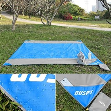 OUSPT Picknickdecke 210 x 200 cm, Stranddecke wasserdichte, Sandabweisende Campingdecke 4 Befestigung Ecken, Ultraleicht kompakt Wasserdicht und sandabweisend(Blau+Grau) - 6