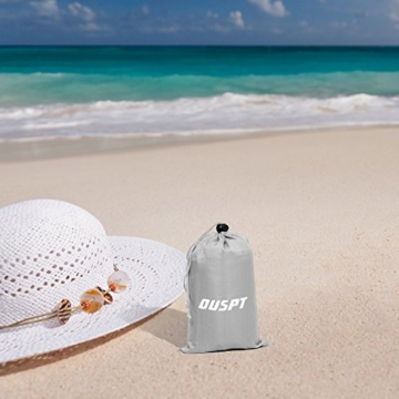 OUSPT Picknickdecke 210 x 200 cm, Stranddecke wasserdichte, Sandabweisende Campingdecke 4 Befestigung Ecken, Ultraleicht kompakt Wasserdicht und sandabweisend(Blau+Grau) - 8
