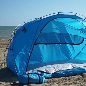 outdoorer große Strandmuschel zum Verschließen Santorin Family - UV 80 Sonnenschutz-Zelt mit Moskitonetz und Belüftung, XXL Strandzelt, leicht, Alugestänge, kleines Packmaß für Reisen - 2
