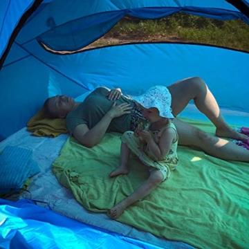 outdoorer große Strandmuschel zum Verschließen Santorin Family - UV 80 Sonnenschutz-Zelt mit Moskitonetz und Belüftung, XXL Strandzelt, leicht, Alugestänge, kleines Packmaß für Reisen - 4