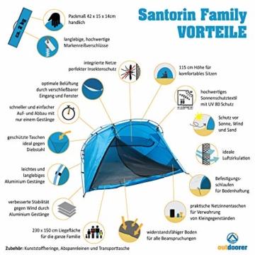 outdoorer große Strandmuschel zum Verschließen Santorin Family - UV 80 Sonnenschutz-Zelt mit Moskitonetz und Belüftung, XXL Strandzelt, leicht, Alugestänge, kleines Packmaß für Reisen - 5