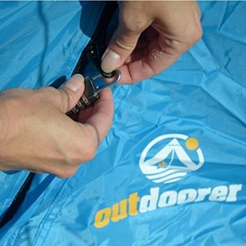 outdoorer Pop up Strandmuschel zum Verschließen Zack Premium Family - großes Strandzelt, verschließbar, UV Schutz 80, Sonnenschutz für den Strand - 4