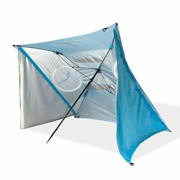 outdoorer Strandschirm Sombrello - Sonnenschirm mit UV Schutz 80, Wind- und Sonnenschutz, Strandmuschel Alternative (eckig, blau) - 4