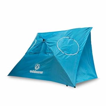 outdoorer Strandschirm Sombrello - Sonnenschirm mit UV Schutz 80, Wind- und Sonnenschutz, Strandmuschel Alternative (eckig, blau) - 1