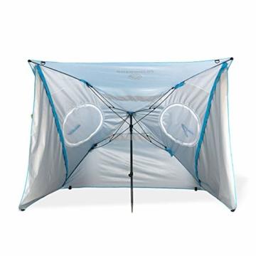 outdoorer Strandschirm Sombrello - Sonnenschirm mit UV Schutz 80, Wind- und Sonnenschutz, Strandmuschel Alternative (eckig, blau) - 5