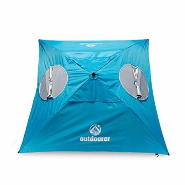 outdoorer Strandschirm Sombrello - Sonnenschirm mit UV Schutz 80, Wind- und Sonnenschutz, Strandmuschel Alternative (eckig, blau) - 7