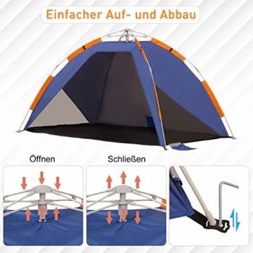 Outsunny Strandmuschel, Strandzelt, Pop up Campingzelt, Netzfenster, Tragetasche, 2-3 Personen, Fiberglas, 210 x 140 x 120 cm - 2