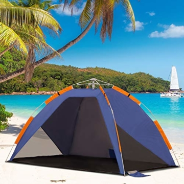 Outsunny Strandmuschel, Strandzelt, Pop up Campingzelt, Netzfenster, Tragetasche, 2-3 Personen, Fiberglas, 210 x 140 x 120 cm - 3