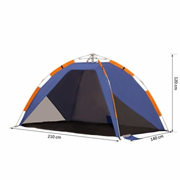 Outsunny Strandmuschel, Strandzelt, Pop up Campingzelt, Netzfenster, Tragetasche, 2-3 Personen, Fiberglas, 210 x 140 x 120 cm - 4