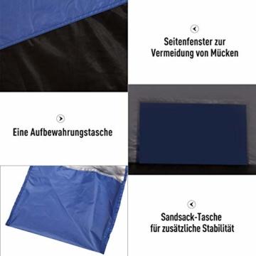 Outsunny Strandmuschel, Strandzelt, Pop up Campingzelt, Netzfenster, Tragetasche, 2-3 Personen, Fiberglas, 210 x 140 x 120 cm - 5