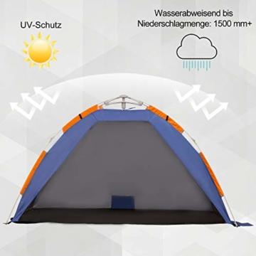 Outsunny Strandmuschel, Strandzelt, Pop up Campingzelt, Netzfenster, Tragetasche, 2-3 Personen, Fiberglas, 210 x 140 x 120 cm - 7