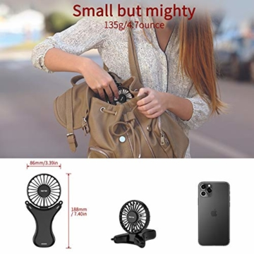 OUTXE Mini Tragbarer Ventilator Halskette Lüfter mit 108° Rotation Klein Faltbarer USB Ventilator Leise Portable Handventilator Aufladbarer Batterie für Reisen Außenbereich - 5