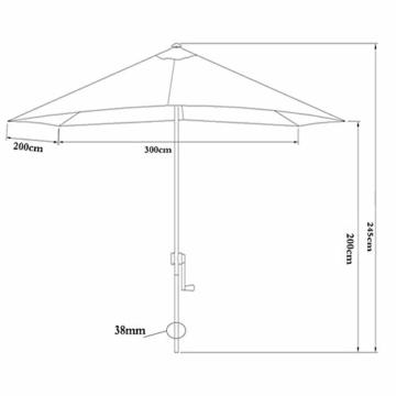 Parasol Rechteckiger Sonnenschirm 200 x 300 cm   Outdoor Sonnenschirm Regenschirm   Pole breite Ø 38 mm   Kurbelsystem CMXZ - 2