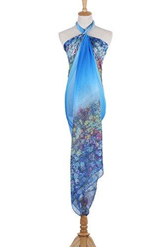 PB-SOAR XXL Mode Damen Sarong Pareo Strandtuch Wickelrock Wickeltuch Schal Halstuch mit Blumenmuster (Blau) - 2