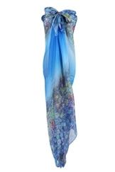 PB-SOAR XXL Mode Damen Sarong Pareo Strandtuch Wickelrock Wickeltuch Schal Halstuch mit Blumenmuster (Blau) - 1
