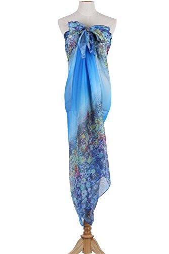 PB-SOAR XXL Mode Damen Sarong Pareo Strandtuch Wickelrock Wickeltuch Schal Halstuch mit Blumenmuster (Blau) - 4
