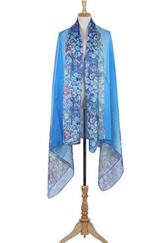 PB-SOAR XXL Mode Damen Sarong Pareo Strandtuch Wickelrock Wickeltuch Schal Halstuch mit Blumenmuster (Blau) - 5