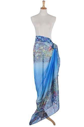 PB-SOAR XXL Mode Damen Sarong Pareo Strandtuch Wickelrock Wickeltuch Schal Halstuch mit Blumenmuster (Blau) - 6