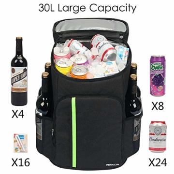 PengDa 30L Kühl Rucksack Kühltasche - Groß Isoliert Kühlrucksack Wasserdichten Ultraleicht Rucksäcke Damen Herren Cooler Bag für Camping, BBQ, Wandern, Picknick (Schwarz) - 6