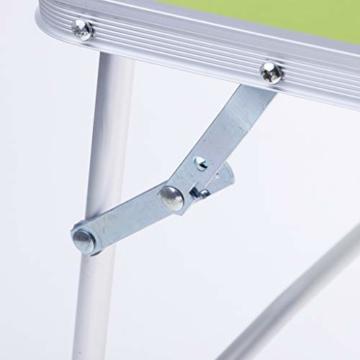 perfk Tragbarer Klapptisch Aluminium Reisetisch Falttisch Gartentisch - Grün - 4