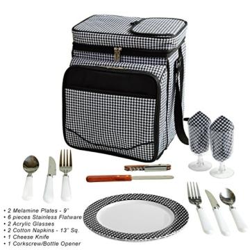Picknick at Ascot Isolierter Picknickkorb/Kühler, komplett ausgestattet mit Service für 2 Personen, Blumenmuster 2 Person Houndstooth - 4